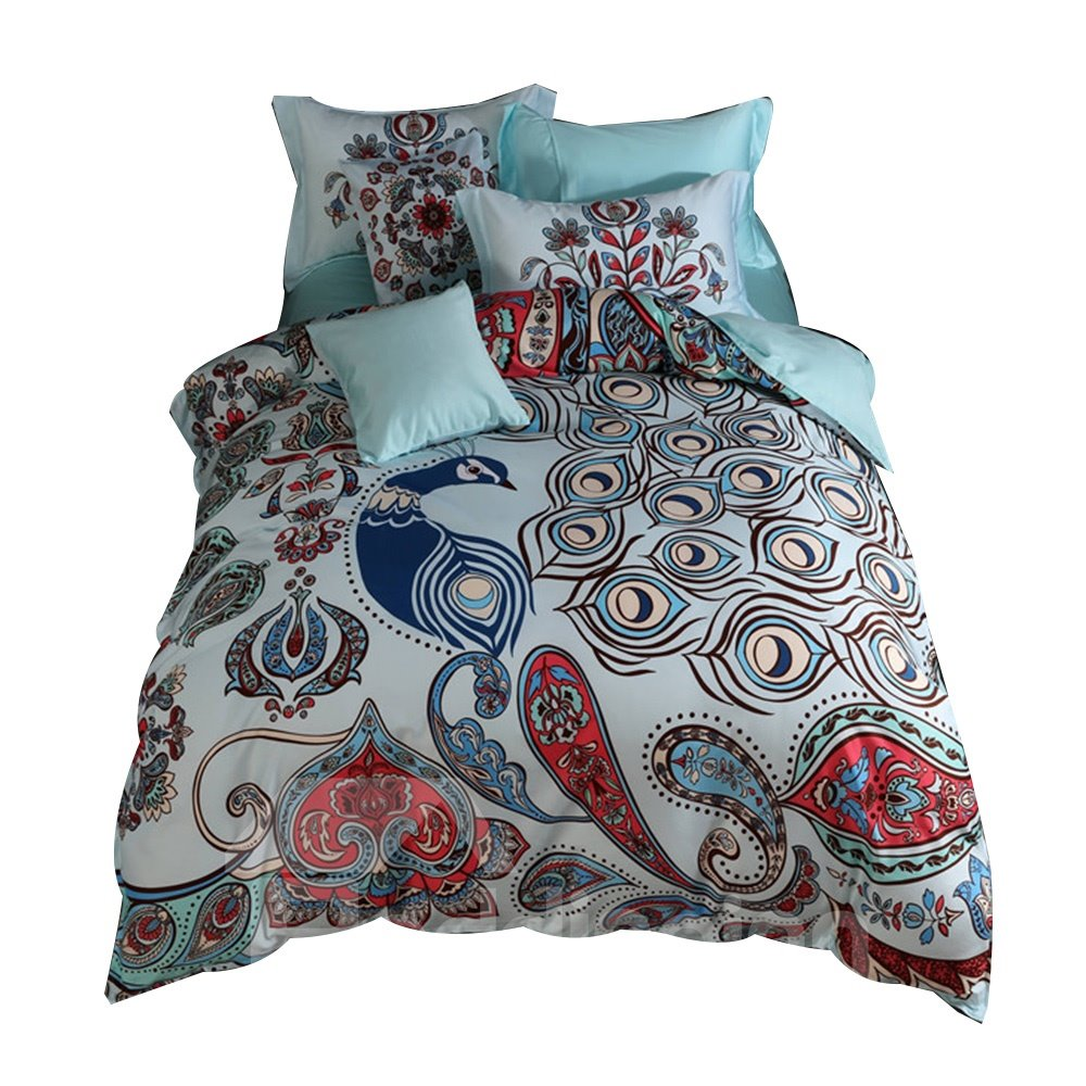 Designer 60S Brocade Floral Peacock Pattern Ethnic Style Blue 4-Piece Cotton Bedding Sets