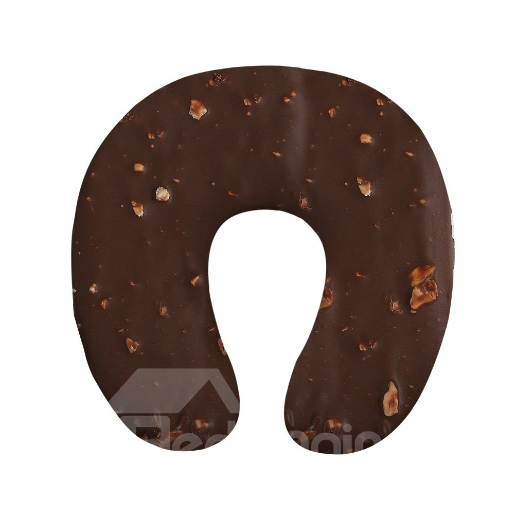 Tasteful 3D Chocolate Print U-Shape Memory Foam Neck Pillow
