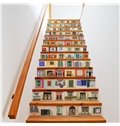 Diverse Windows and Doors 13-Piece PVC 3D Waterproof Stair Murals