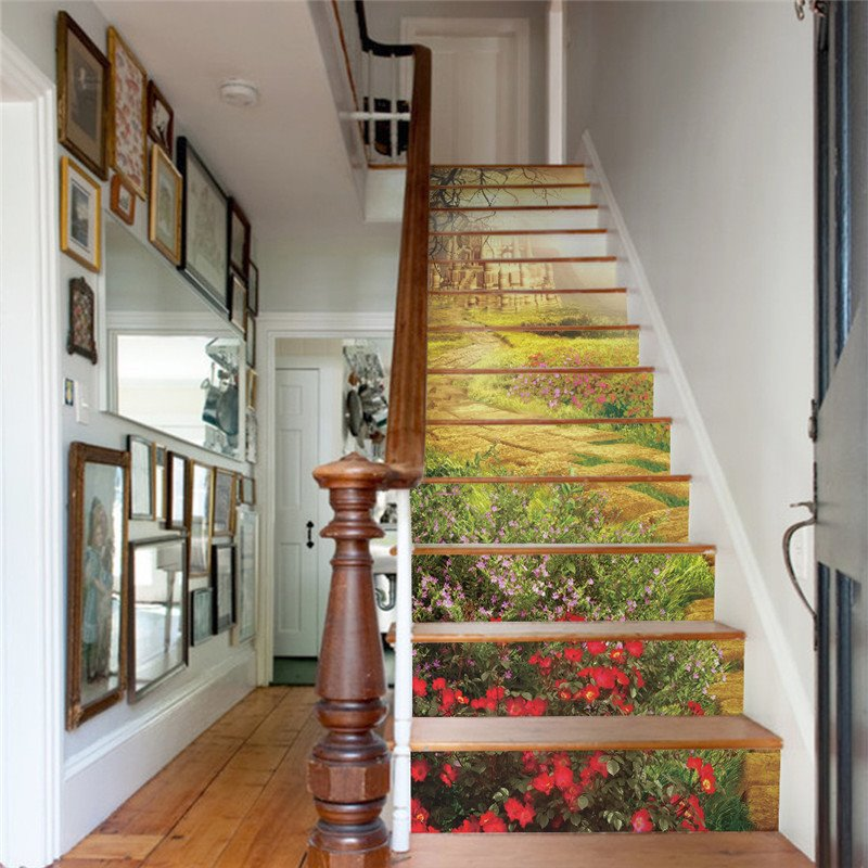 Garden and Castle 13-Piece PVC 3D Waterproof Stair Murals