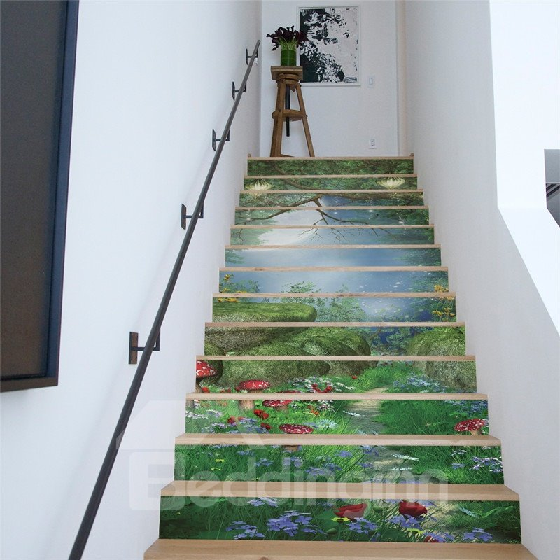 Green Forest 13-Piece PVC 3D Waterproof Stair Murals