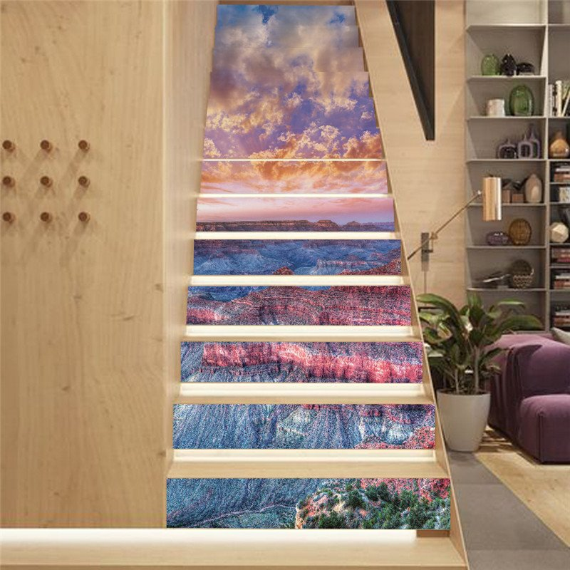 Sunset and Colorful Geomorphology 13-Piece PVC 3D Waterproof Stair Murals