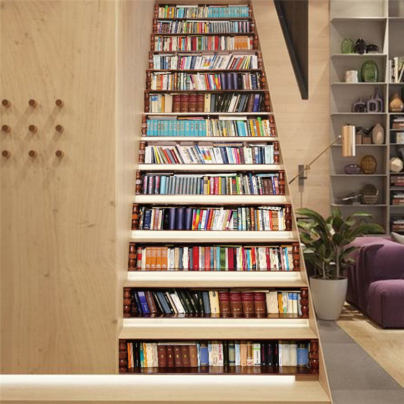 Bookcase 13-Piece Wisdom Sea PVC 3D Waterproof Stair Murals