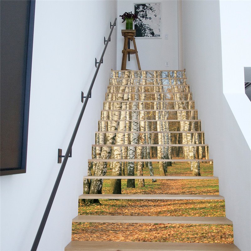 Birch Forest 13-Piece PVC 3D Waterproof Stair Murals