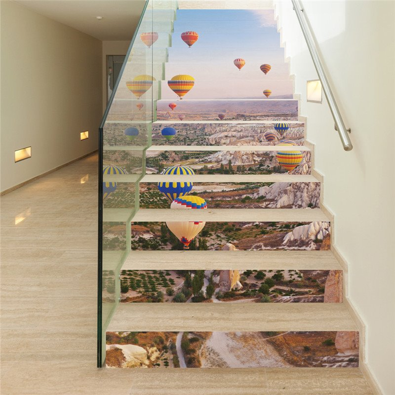 Parachutes and Mountains 13-Piece 3D PVC Waterproof Stair Mural