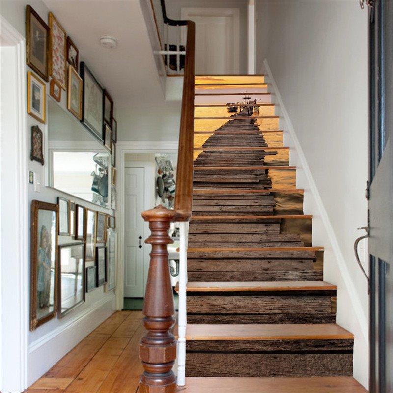 Wooden Path and Sunset 13-Piece PVC 3D Waterproof Stair Murals