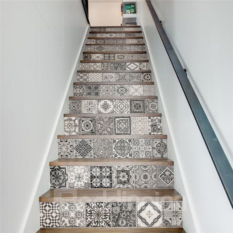 Black and White Mexican Traditional Talavera 13-Piece 3D PVC Waterproof Stair Murals