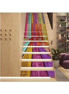 Colorful Stripes 13-Piece PVC 3D Waterproof Stair Murals