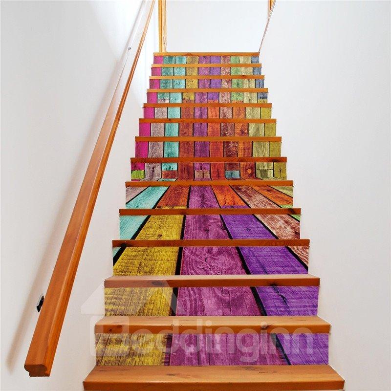 Colorful Stripes 13-Piece PVC 3D Waterproof Stair Murals