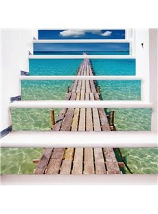 Blue Sea over Wooden Path 6-Piece PVC 3D Waterproof Stair Murals