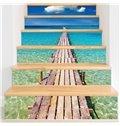 Blue Sea over Wooden Path 6-Piece PVC 3D Waterproof Stair Murals