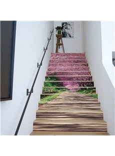 Cherry Trees on Both Sides of Wooden Path 13-Piece 3D Waterproof Stair Murals