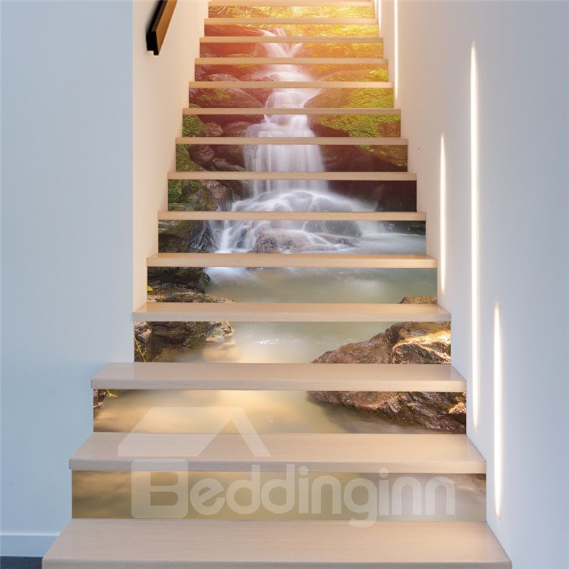 Waterfall and Sunshine 13-Piece PVC 3D Waterproof Stair Murals
