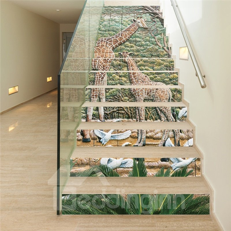 Giraffes and Swans in Forest 13-Piece PVC 3D Waterproof Stair Murals