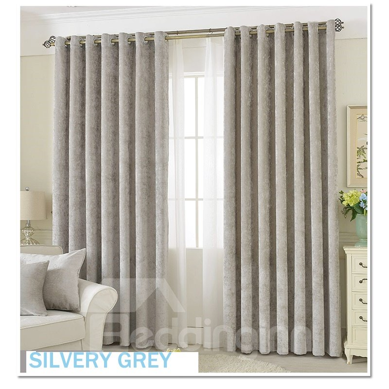 Decoration Polyester Silver Grey Chenille Luxury Style Room Curtain