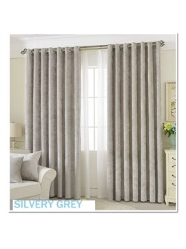 Decoration Polyester Silver Grey Chenille Luxury Style Roon Curtain