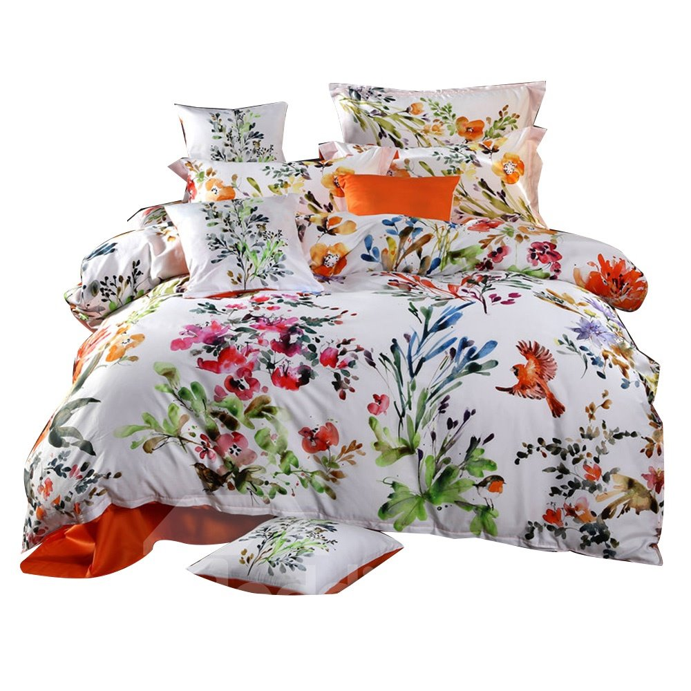 Designer Birds and Flowers Watercolor Painting Pastoral Style Cotton 4-Piece Bedding Sets