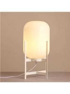 White Lantern-Shaped Hardware and Glass with Soft Lighting 1 BulbTable Lamp