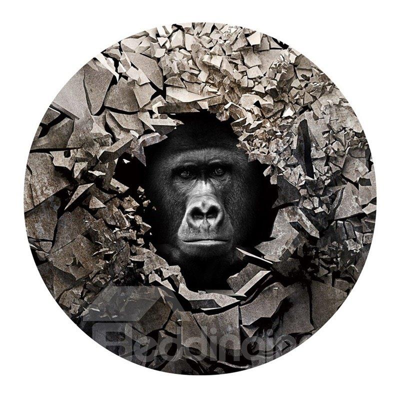 3D Gorilla and Broken Stones Printed PVC Modern Non-Slipping Entrance Doormat