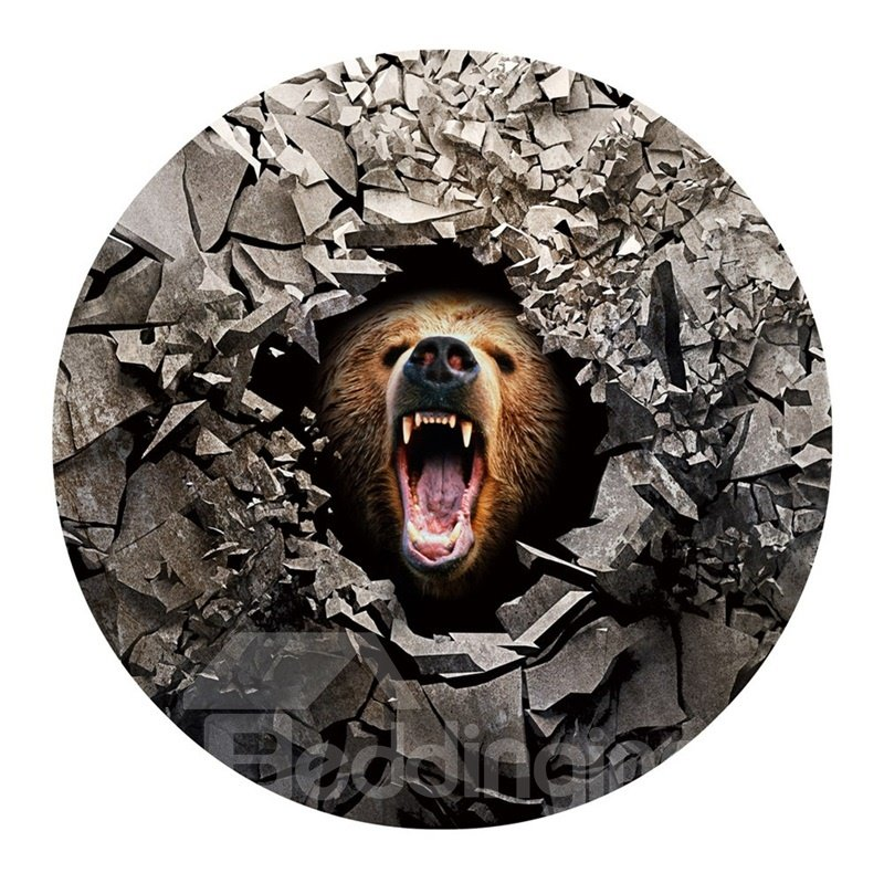 3D Wolf Opening Mouth and Broken Stones Printed PVC Nonslip Round Doormat