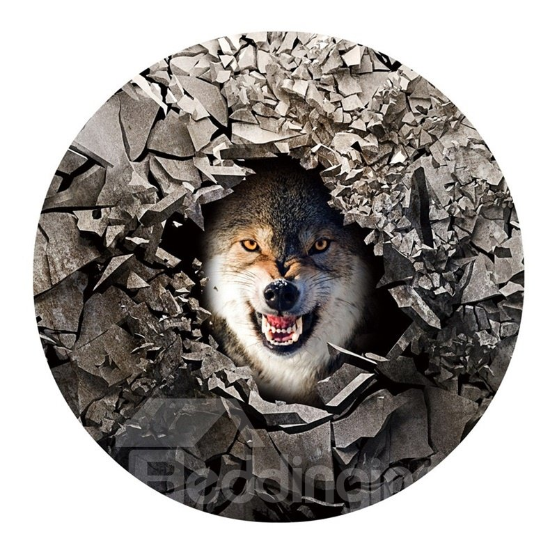 3D Fierce Wolf and Broken Stone Printed PVC Realistic Nonslip Round Doormat