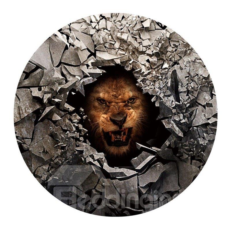 3D Fierce Lion and Broken Stones Printed PVC Modern Water Absorption Doormat