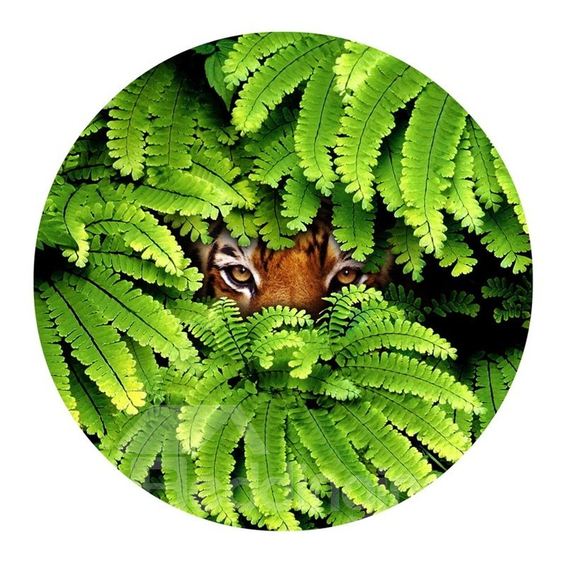 Tiger Eyes Hiding behind Green Leaves Pattern PVC Nonslip Round Doormat