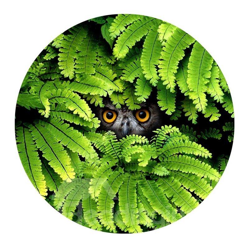 Owl Eyes Gazing Hiding behind Green Leaves PVC Nonslip Round Doormat