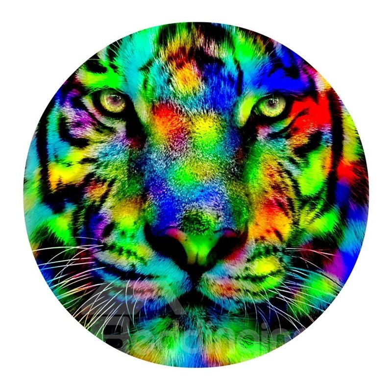 Colorful Tiger Head Pattern PVC Round Water Absorption and Anti-Slip Entrance Doormat
