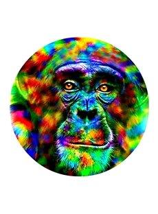 Colorful Chimpanzee Head Pattern PVC Modern Non-slip Round Entrance Doormat