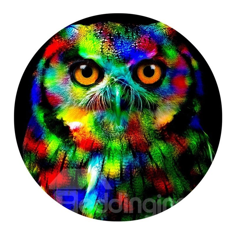 Owl PVC Abstract Colorful Round Anti- slip and Water Absorption Entrance Doormat