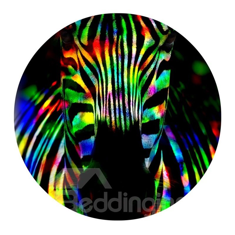 Zebra Head PVC Modern Colorful Nonslip and Water Absorption Round Doormat