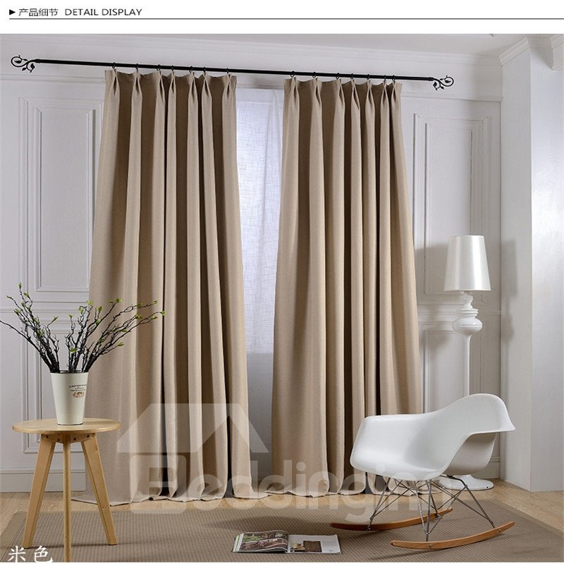 Blackout and Decoration Linen Luxury Beige and Dark Brown Room Curtains