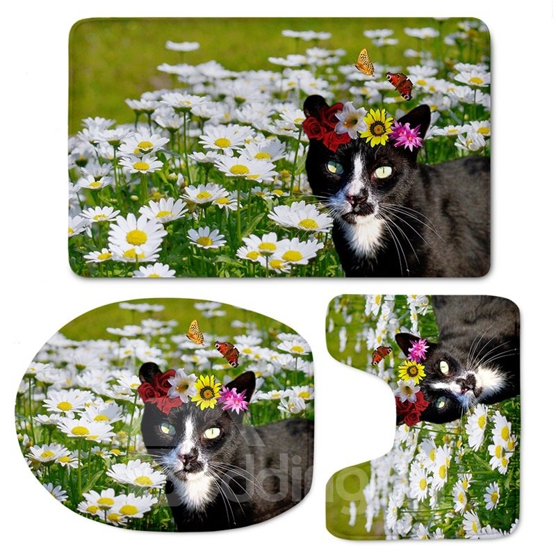 3D Black Cat in White Daisies Printed Flannel 3-Piece Toilet Seat Cover
