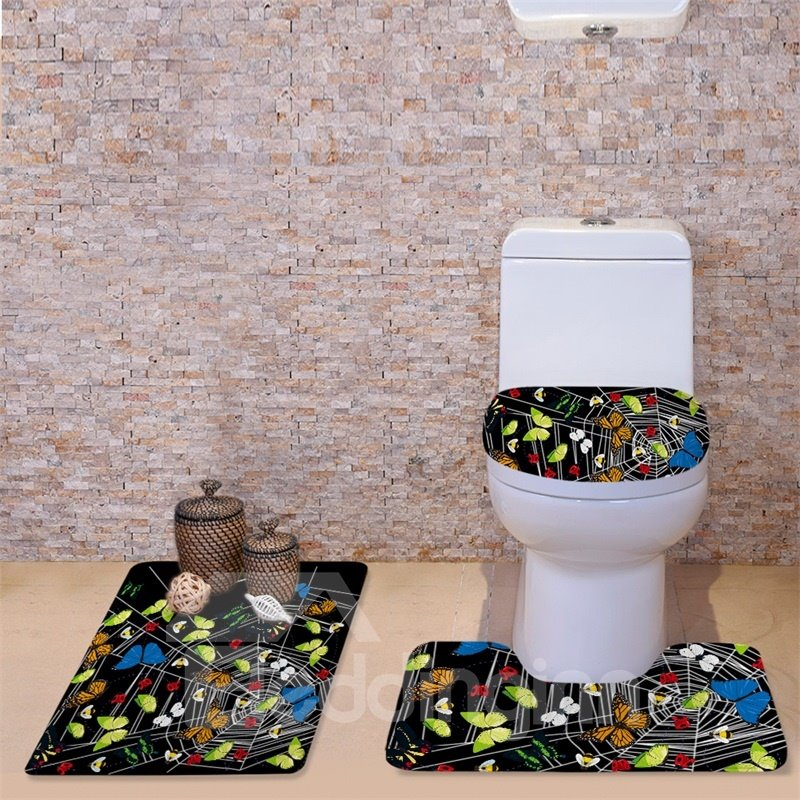 3D Butterflies on Cobweb Printed Flannel 3-Piece Toilet Seat Cover