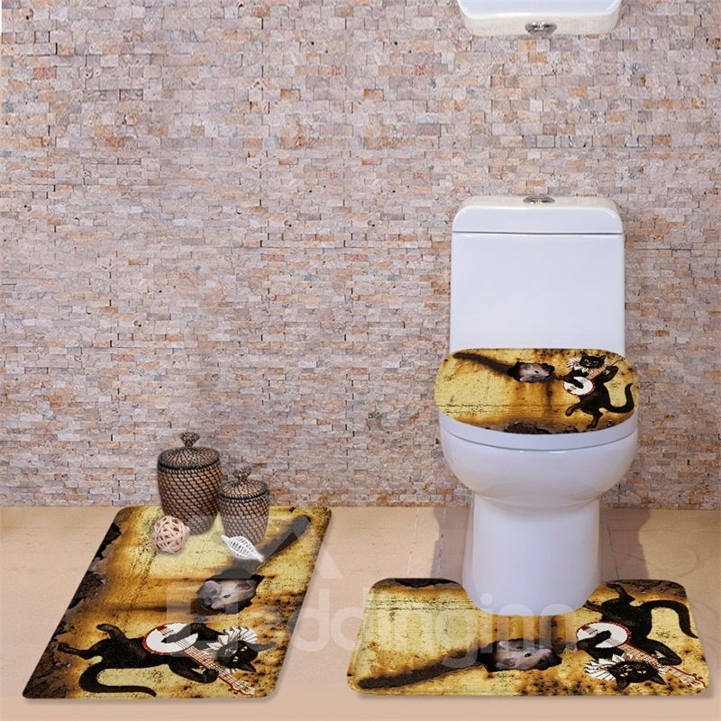 3D Guitar Cat and Mouse Printed Flannel 3-Piece Toilet Seat Cover