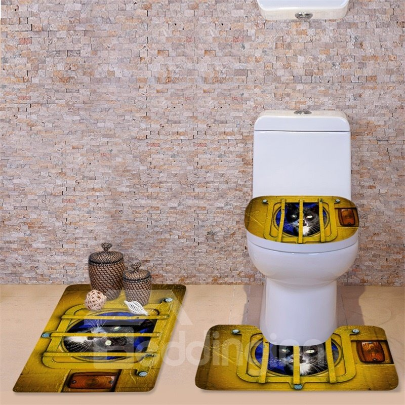 3D Cat in Cage Printed Flannel 3-Piece Yellow Toilet Seat Cover