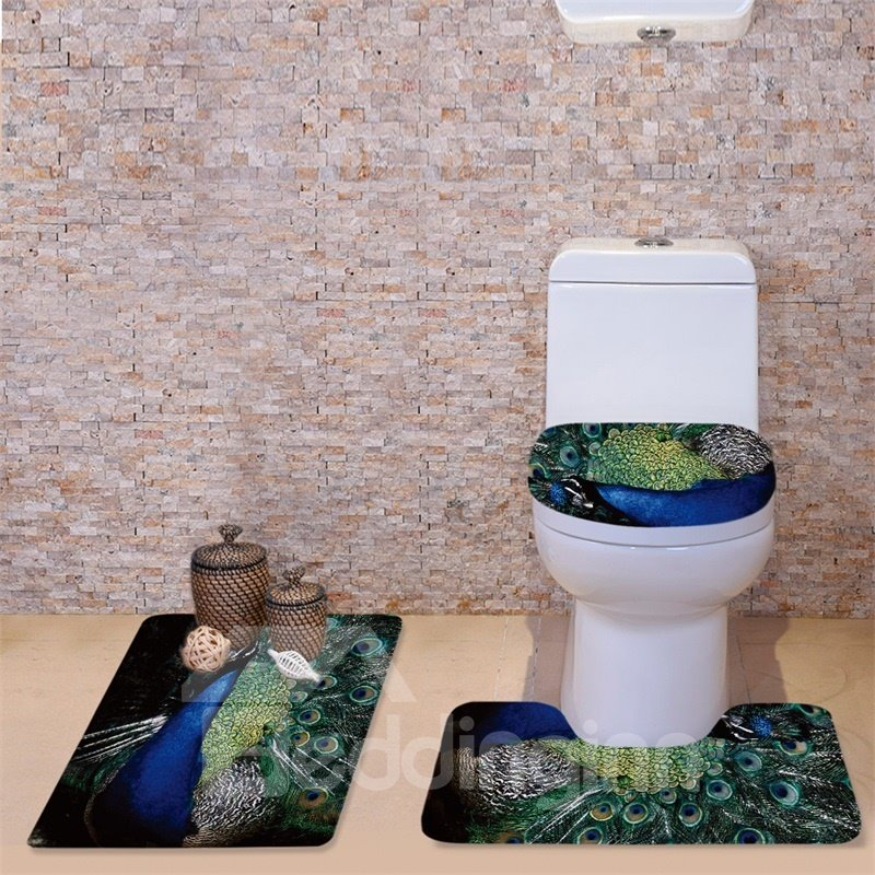 3D Peacock Feather Printed Flannel 3-Piece Toilet Seat Cover