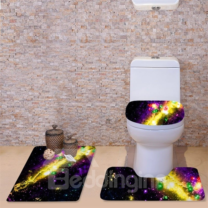 3D Yellow Galaxy Printed Flannel 3-Piece Black Toilet Seat Cover