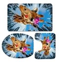 3D Giraffe with Red Lip and Cactus Flower Pattern Flannel 3-Piece Toilet Seat Cover