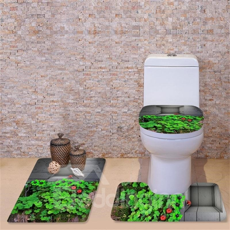 3D Four Leaf Clovers Printed Flannel 3-Piece Toilet Seat Cover