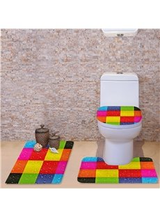 3D Colorful Grid Pattern Flannel 3-Piece Toilet Seat Cover