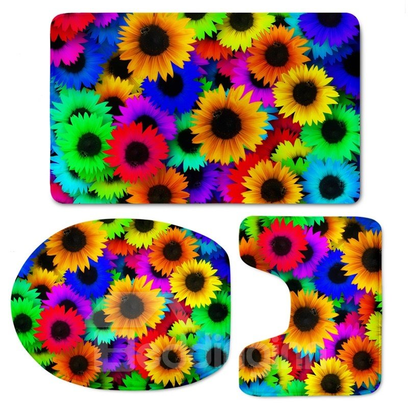 3D Colorful Sunflowers Printed Flannel 3-Piece Toilet Seat Cover