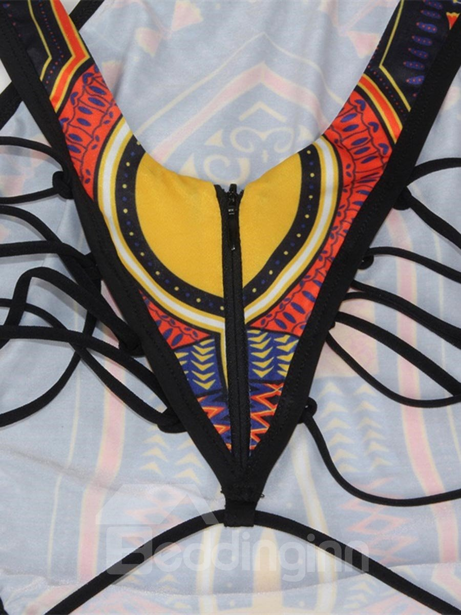 Sexy One Piece Yellow Black Folk-Custom 3D Bathing Suit Swimwuits