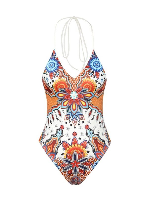 Bohemia Style Pattern Sexy Backless One Piece for Women 3D Bathing Suit Swimwuits