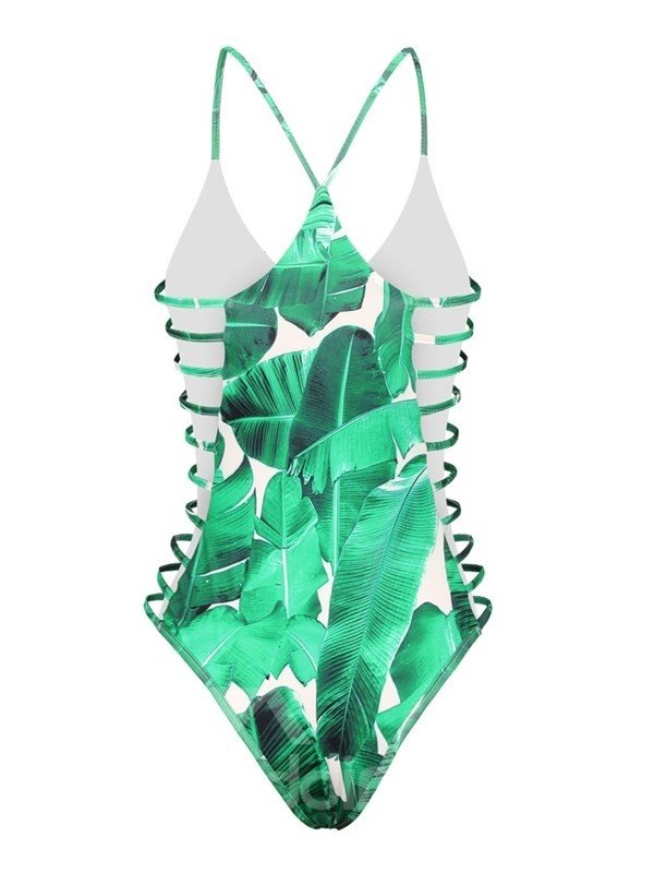 One Piece Green Leaf Pattern Spandex 3D Bathing Suit Swimwuits