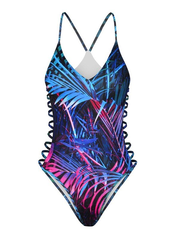Colorful Palm Leaves Pattern One Piece 3D Printed Women's'Swimsuit