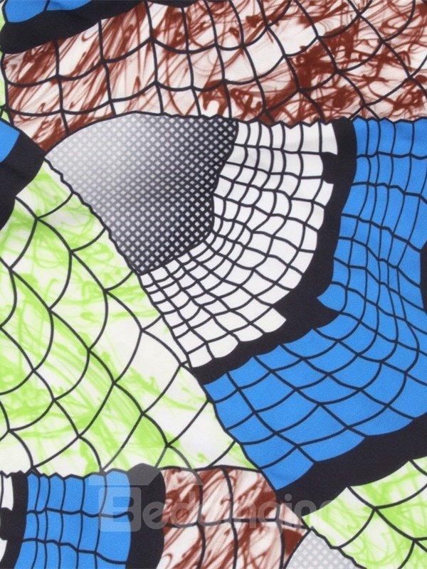 Folk-Custom Style Formal High Quality Beach Blue Midi 3D Printing Skirt