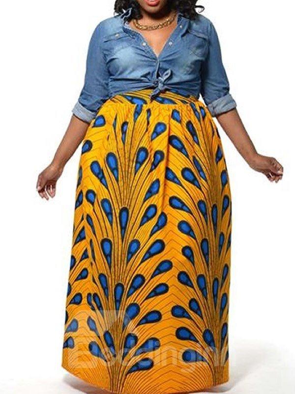 Beautiful Peacock Fashion High-Waist Knee-Length 3D Painted Skirt