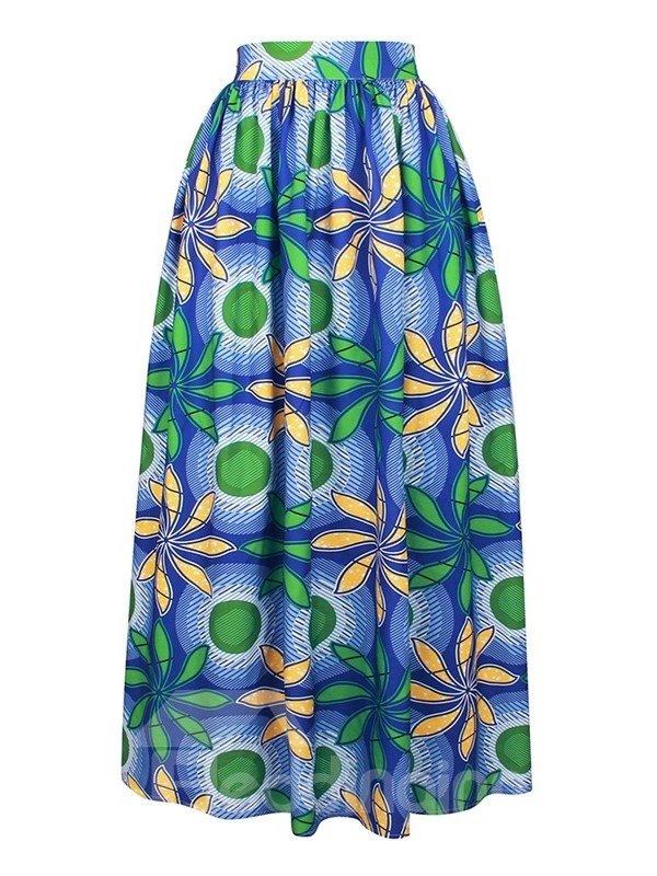 Indonesian Style Fashion Nice Body Line High-Waist Knee-Length 3D Painted Skirt